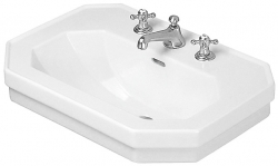 DURAVIT - 1930 Umývadlo s prepadom, 800 mmx550 mm, biele – trojotvorové umývadlo, s WonderGliss (04388000301)