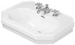 DURAVIT - 1930 Umývadlo s prepadom, 700 mmx500mm, biele – trojotvorové umývadlo, s WonderGliss (04387000301)