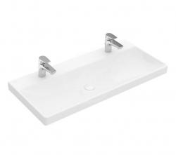 VILLEROY & BOCH - Avento Umývadlo nábytkové 1000x470 mm, bez prepadu, 2 otvory na batériu, alpská biela (4156A101)