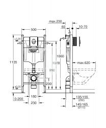 GROHE - Rapid SL Predstenový inštalačný prvok na závesné WC, nádržka GD2, ovládacie tlačidlo Skate Air, chróm (38745001), fotografie 2/1