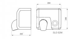 SANELA - Automatické osoušeče Elektrický sušič rúk s tlačidlom na čelnej stene, kryt z nehrdzavejúcej ocele (SLO 02M), fotografie 2/2