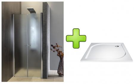 AQUALINE - PILOT otočné sprchové dvere dvojkrídlové 800mm+vanička (PT082-SET1)