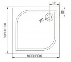 AQUALINE - PILOT otočné sprchové dvere dvojkrídlové 800mm+vanička (PT082-SET1), fotografie 20/10