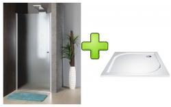 AQUALINE - PILOT otočné sprchové dvere 800mm+vanička (PT080-SET1)