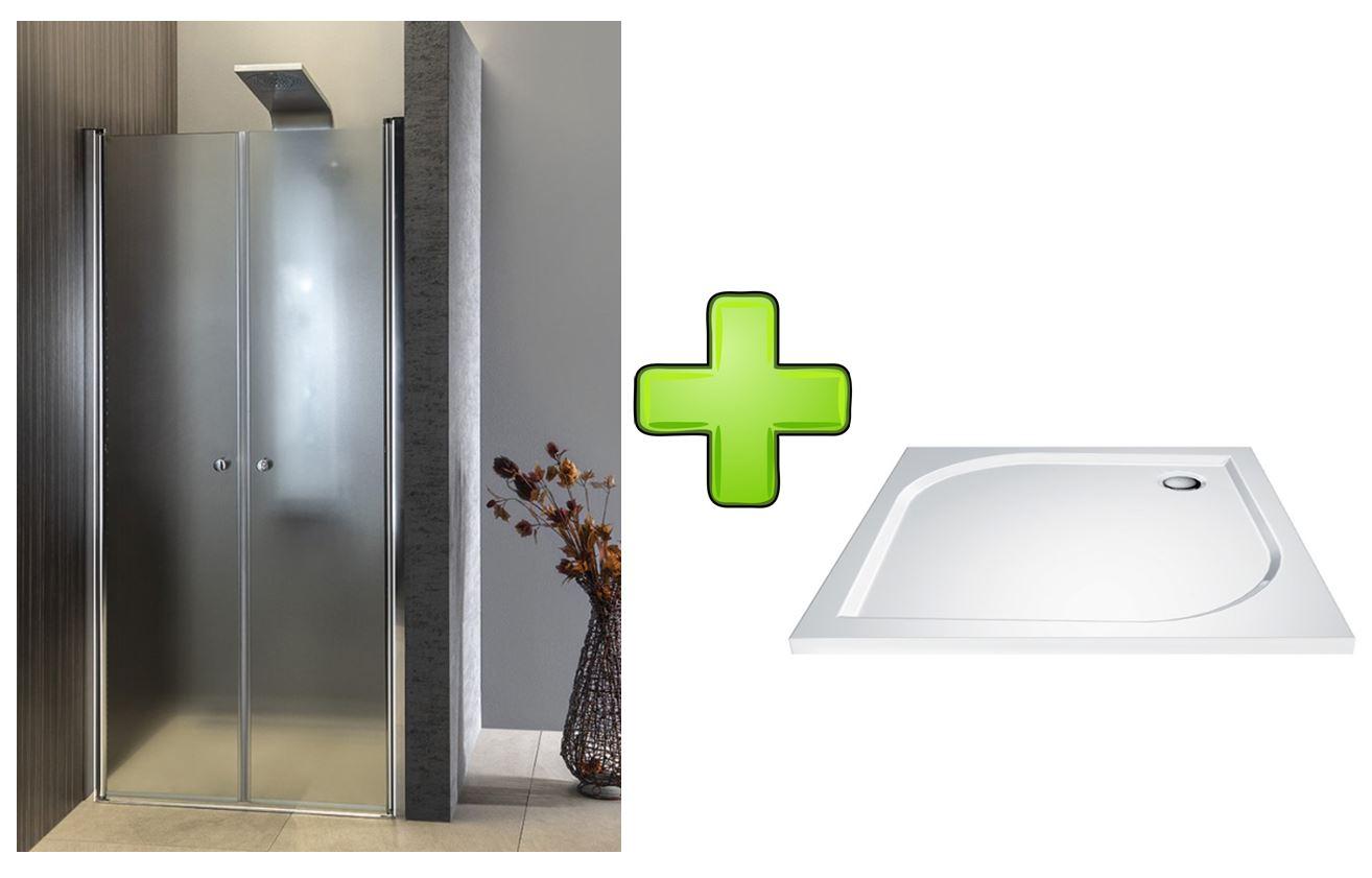 AQUALINE - PILOT otočné sprchové dvere dvojkrídlové 900mm+vanička PT092-SET1