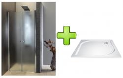 AQUALINE - PILOT otočné sprchové dvere dvojkrídlové 900mm+vanička (PT092-SET1)