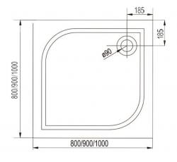 AQUALINE - PILOT otočné sprchové dvere dvojkrídlové 900mm+vanička (PT092-SET1), fotografie 16/10