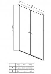 AQUALINE - PILOT otočné sprchové dvere dvojkrídlové 900mm+vanička (PT092-SET1), fotografie 20/10