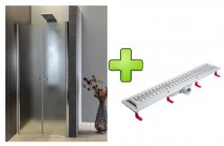 AQUALINE - PILOT otočné sprchové dvere dvojkrídlové 800mm+žlab (PT082-SET2)