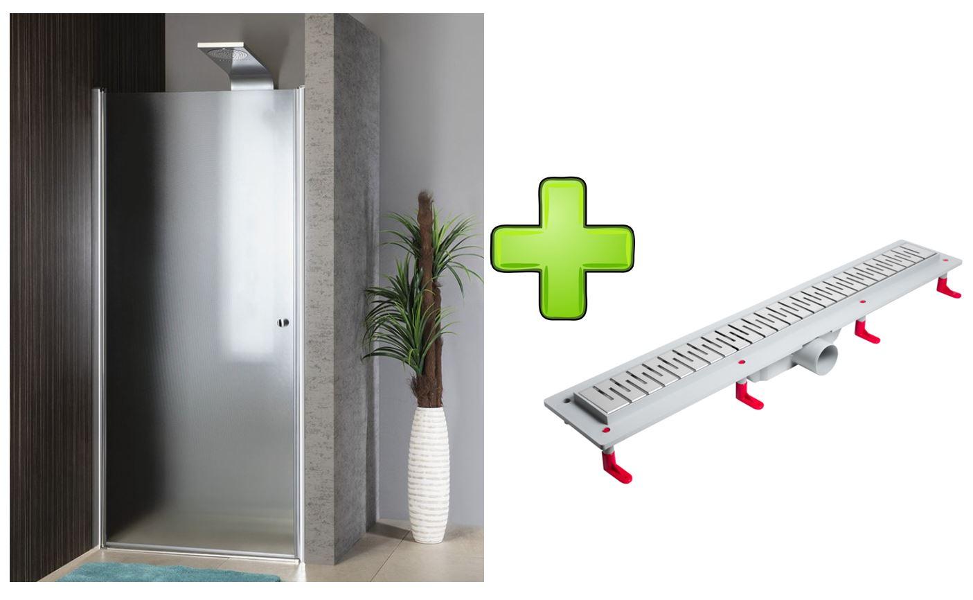 AQUALINE - PILOT otočné sprchové dveře 800mm+žlab (PT080-SET2)