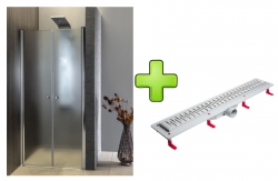 AQUALINE - PILOT otočné sprchové dvere dvojkrídlové 1000mm+žlab (PT102-SET2)