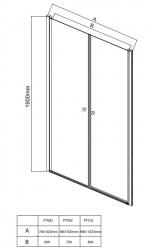 AQUALINE - PILOT otočné sprchové dvere dvojkrídlové 1000mm+žlab (PT102-SET2), fotografie 8/12
