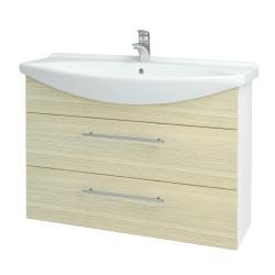 Dreja - Kúpeľňová skriňa TAKE IT SZZ2 105 - N01 Bílá lesk / Úchytka T02 / D04 Dub (153175B)