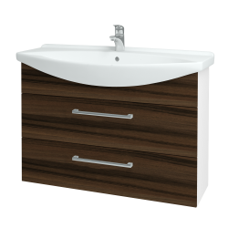 Dreja - Kúpeľňová skriňa TAKE IT SZZ2 105 - N01 Bílá lesk / Úchytka T03 / D06 Ořech (153199C)