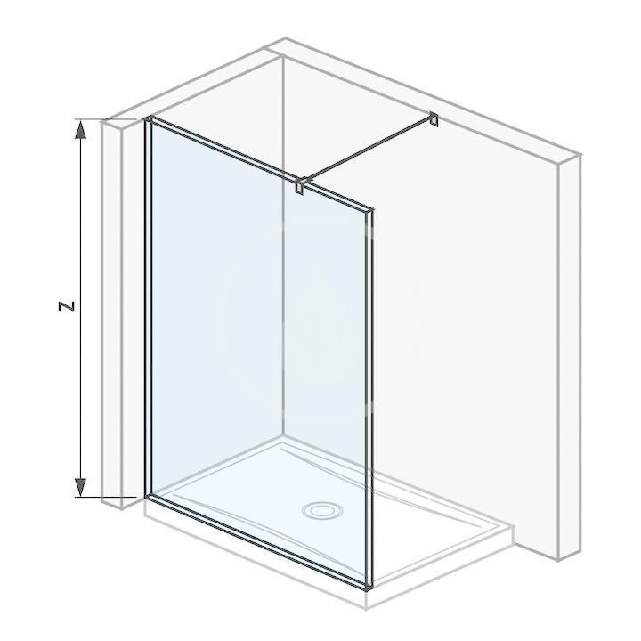 Pure Sklenená stena bočná 140 cm na sprchovú vaničku 140 cmx80 cm a 140 cmx90 cm, s úpravou Jika Perla Glass, 1400 mm x 200 mm x 2000 mm H2674250026681