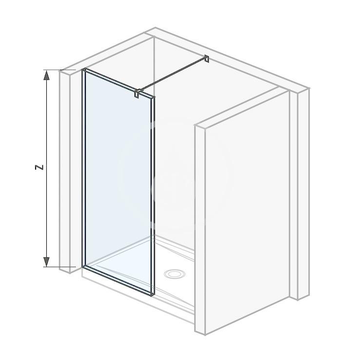 Pure Sklenená stena bočná 68 cm na sprchovú vaničku 120 cmx80 cm, 120 cmx90 cm, 130 cmx80 cm a 130 cmx90 cm s úpravou Jika Perla Glass, 700 mm x 200 mm x 2000 mm H2674290026681