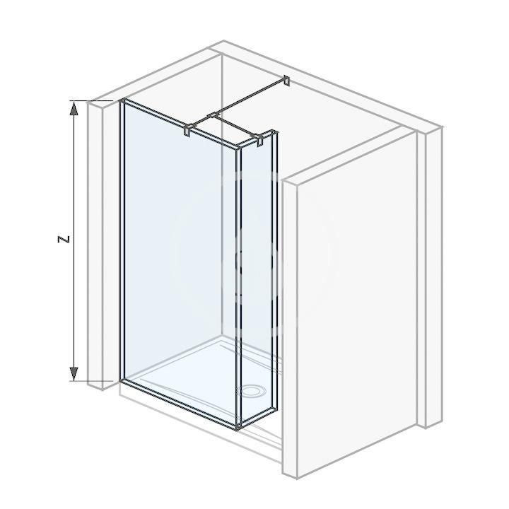Pure Sklenená stena bočná 68 cm na sprchovú vaničku 120 cmx80 cm, 120 cmx90 cm, 130 cmx80 cm a 130 cmx90 cm s úpravou Jika Perla Glass, 700 mm x 200 mm x 2000 mm H2684210026681