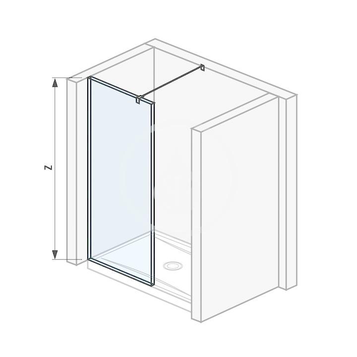 Pure Sklenená stena bočná 880 mm na sprchovú vaničku 90 cmx90 cm s úpravou Jika Perla Glass, 900 mm x 200 mm x 2000 mm H2694270026681