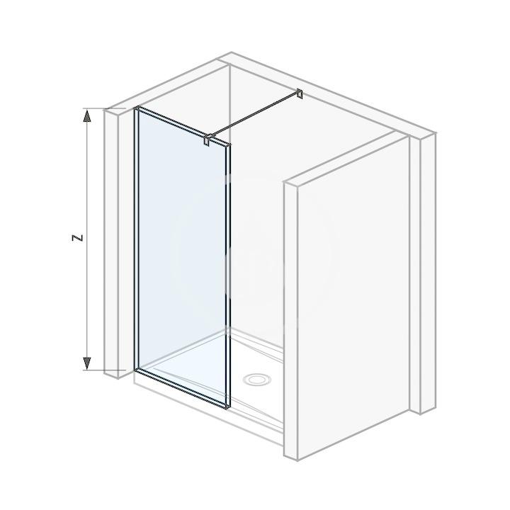 Pure Sklenená stena bočná 980 mm na sprchovú vaničku 100 cmx80 cm s úpravou Jika Perla Glass, 1000 mm x 200 mm x 2000 mm H2694280026681