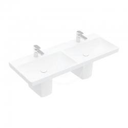 VILLEROY & BOCH - Avento Dvojumývadlo nábytkové 1200x470 mm, bez prepadu, otvor na batériu, alpská biela (4A23CG01)