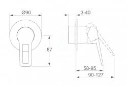 HANSA - Twist Sprchová batéria pod omietku, chróm (49777005), fotografie 2/2