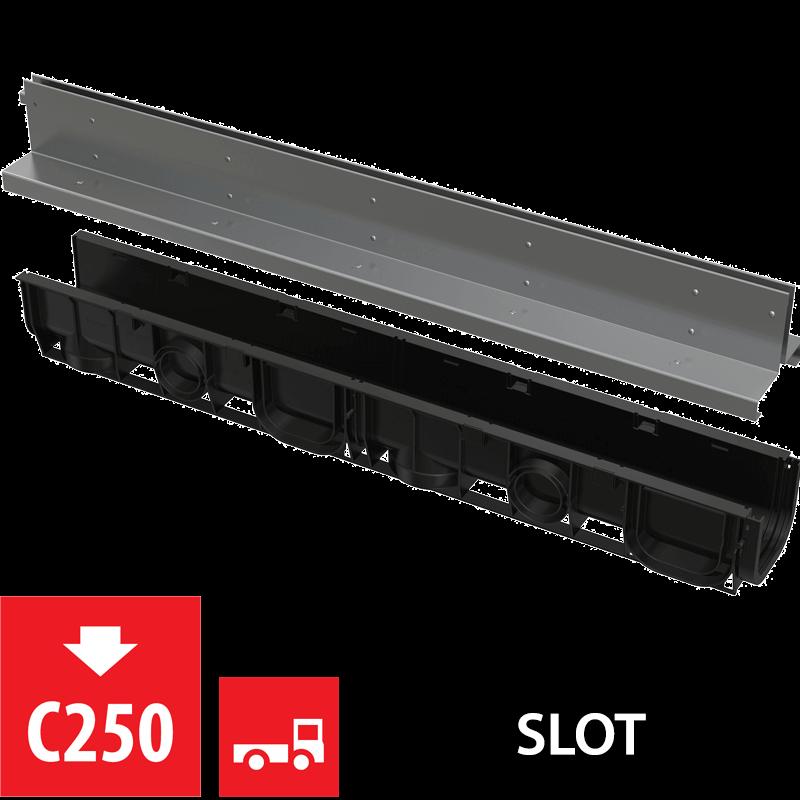 Alcaplast Venkovní žlab 1m 100 mm štěrbinový se symetrickým nástavcem nerez (AVZ101-R323)