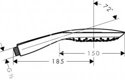 HANSGROHE - PuraVida Ručná sprcha 150 Air 3jet EcoSmart 9 l/min, biela/chróm (28567400), fotografie 4/3