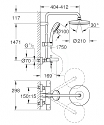 GROHE - Tempesta Cosmopolitan Sprchový systém 210 s vaňovým termostatom na stenu, chróm (26223001), fotografie 4/4