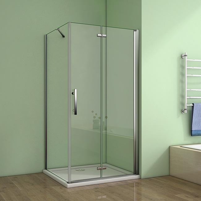 H K - Čtvercový sprchový kout MELODY 90x90 cm se zalamovacími dveřmi včetně sprchové vaničky z litého mramoru (SE-MELODYB89090/SE- ROCKY9090)