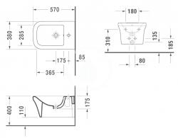 DURAVIT - P3 Comforts Závesný bidet, Durafix, s WonderGliss, alpská biela (22681500001), fotografie 2/1
