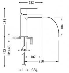 TRES - Umývadlová jednopáková batéria ramienko s otvoreným vodopádom. POZNÁMKA: Batéria typu vodopádu je doplnená dvoma Regulačné (20011001RO), fotografie 2/1