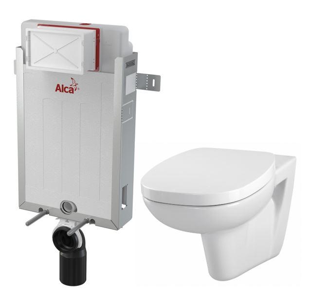 ALCAPLAST Renovmodul - předstěnový instalační systém bez tlačítka + WC CERSANIT FACILE + SEDÁTKO DURAPLAST (AM115/1000 X FA1)