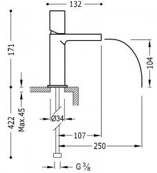 TRES - Umývadlová jednopáková batéria ramienko s otvoreným vodopádom. POZNÁMKA: Batéria typu vodopádu je doplnená dvoma regulačné (20011002AM), fotografie 2/1