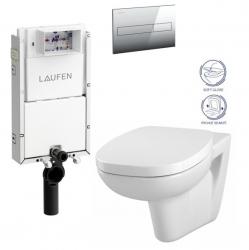 LAUFEN Podomít. systém LIS TW1 SET s chrómovým tlačidlom + WC CERSANIT FACILE + SEDADLO duraplastu SOFT-CLOSE (H8946630000001CR FA2)
