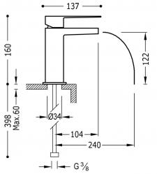 TRES - Jednopáková umyvadlová baterie ramínko s otevřeným vodopádem. POZNÁMKA: Baterie typu vodopádu je doplněna dvěma regulačn (20211001NE), fotografie 2/1