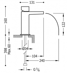 TRES - Jednopáková umyvadlová baterie ramínko s otevřeným vodopádem. POZNÁMKA: Baterie typu vodopádu je doplněna dvěma regulačn (20211002BL), fotografie 2/1