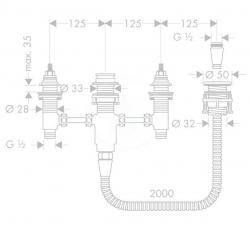 HANSGROHE - Montážní tělesa Základné teleso štvorotvorovej vaňovej batérie na okraj vane, s príslušenstvom (13244180), fotografie 2/1