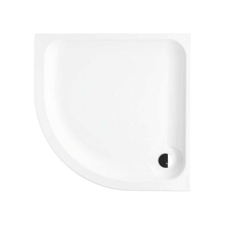 JIKA - Deep Sprchová vanička, štvrťkruhová, samonosná, rádius 550 mm, akrylát, 900 mm x 900 mm x 80 mm, biela H2138220000001