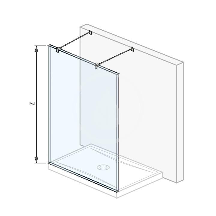 Pure Sklenená stena pevná 130 cm na sprchovú vaničku 130 cmx80 cm a 130 cmx90 cm, s úpravou Jika Perla Glass, vrátane dvoch vzpier, 1300 mm x 200 mm x 2000 mm H2674210026681