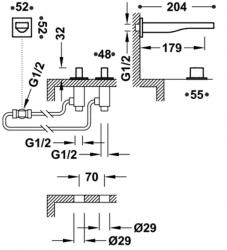 TRES - Nástěnná baterie, ramínko 179mm, včetně tělesa (20223801OM), fotografie 2/1