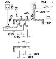 TRES - Nástěnná baterie, ramínko 257mm, včetně tělesa (20223901OR), fotografie 2/1