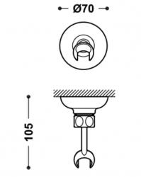 TRES - Nastavitelný držák, materiál mosaz (29963910LM), fotografie 2/1