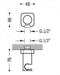 TRES - Nastavitelný kulatý držák, kovový, materiál mosaz (06183901NM), fotografie 2/1