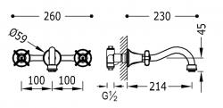 TRES - Nástenná umývadlová batéria, vrátane nerozdělitelného zabudovaného telesa (24215101), fotografie 2/1