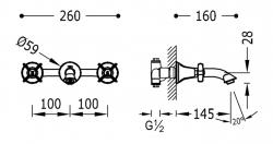 TRES - Nástenná umývadlová batéria, početné nerozdělitelného zabudovaného telesa (24215102), fotografie 2/1