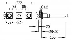 TRES - Nástenná umývadlová batéria, vrátane nerozdělitelného zabudovaného telesa, ramienko 156 mm (21175101KM), fotografie 2/1