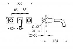 TRES - Nástenná umývadlová batéria, vrátane nerozdělitelného zabudovaného telesa, ramienko 164 mm (21115101OM), fotografie 2/1