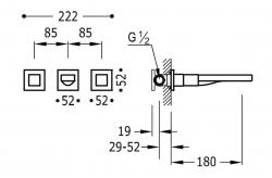 TRES - Nástenná umývadlová batéria, vrátane nerozdělitelného zabudovaného telesa, ramienko 180 mm (00815301OR), fotografie 2/1