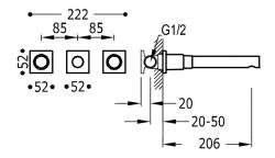 TRES - Nástenná umývadlová batéria, vrátane nerozdělitelného zabudovaného telesa, ramienko 206 mm (21175201OM), fotografie 2/1