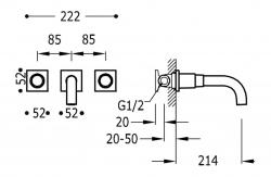 TRES - Nástenná umývadlová batéria, vrátane nerozdělitelného zabudovaného telesa, ramienko 214 mm (21115201KM), fotografie 2/1